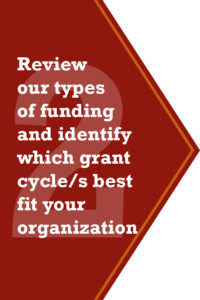 Step 2 - Review our types of funding and identify which grant cycle/s best fit your organization
