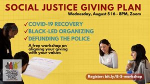 """Graphic to advertise event. Yellow background, text reads """"Social Justice Giving Plan. Wednesday August 5 