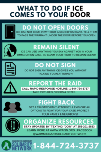 Rectangular graphic with light green background displaying know your rights information for immigrants and refugees targeted by ICE. Alt text word limit does not allow for full text of image to be included.