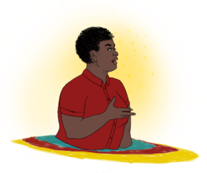 Square image with transparent background. Image of a Black nonbinary person wearing a red collared shirt and speaking while holding up their right hand is pictured. They emerge from a blue red and yellow disc with a glowing background.