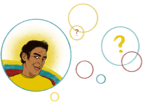 Square image with transparent background. Several outlines of red blue and yellow bubbles are pictured. In one large bubble to the left of the image is a brown man wearing a yellow shirt looking thoughtful. There question marks in some of other other bubbles.