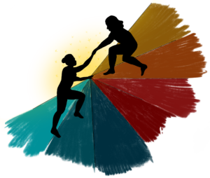 Square image with transparent background. A black silhouette of two people on top of a gradient going from teal to red to caramel is pictured. One person is holding out their hand to the other to help them climb the structure they are standing on.