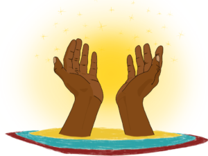 Square image with transparent background. Brown hands emerge from a radiating disc of yellow blue and red with a glowing background. The hands are together and reaching out as if to offer or receive something.