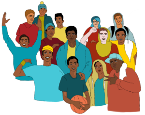 Square image with transparent background. A not great illustration of a group of mostly Black youth standing together in a group looking cheerful and having fun. One youth holds a basketball. They are all wearing a combination of yellow blue and red in various shades.