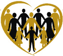 Village of Hope logo featuring a gold heart outline with gold and black silhouettes of people holding hands inside of it