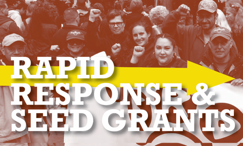 Rectangular graphic featuring a picture of people smiling and standing together at a march while holding a banner. some people have their fists up. There is a red overlay on the picture. White text reads Rapid Response and Seed Grants
