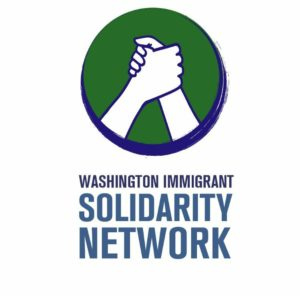 WAISN logo featuring two illustrated hands clasped in front of a green circle with a blue outline. Blue text reads Washington Immigrant Solidarity Network.