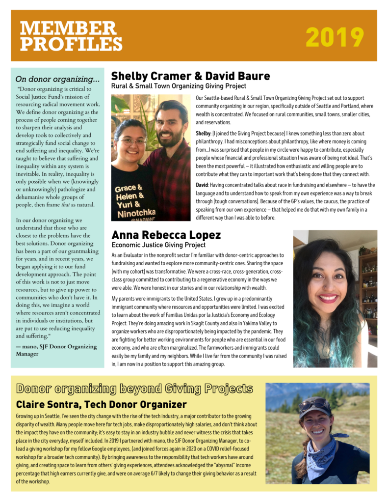 The layout is divided into four sections descending vertically with one section offset to the left of the page. Shelby Cramer & David Baure. a picture of Shelby and David. Two people stand next to each other with some green plants in the background. Shelby on the left wears glasses with a black t-shirt. David on the right wears a red and black checked shirt. Anna Rebecca Lopez. a picture of Anna Rebecca. A person with long black hair dyed turquoise at the tips smiles widely into the camera. Claire Sontra. a picture of Claire. A person wearing a blue shirt light blue bandana black baseball cap and sunglasses smiles widely into the camera in a brightly lit field surrounded by mountains.