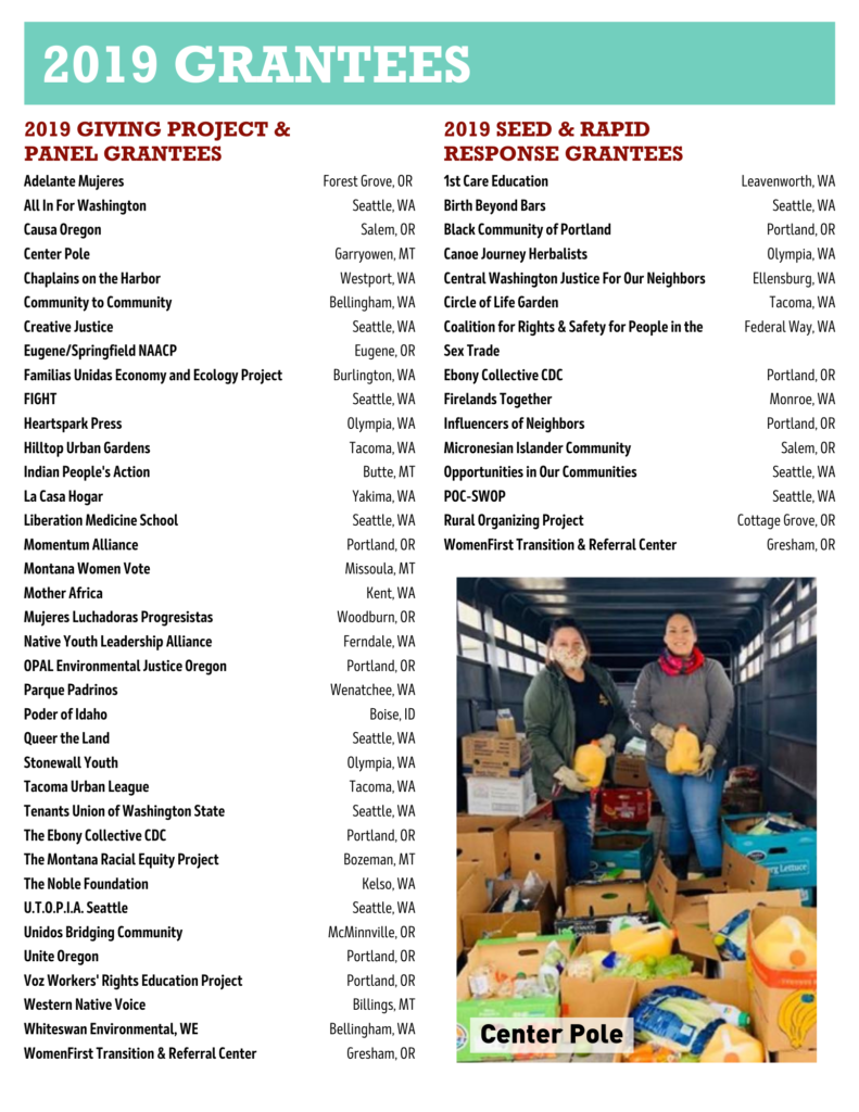 Picture from grantee Center Pole. Picture of two people standing together inside of what appears to be a transport trailer surrounded by boxes of food and produce.