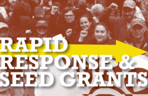 Rectangular image with red background and picture of people standing together at a rally smiling with their fists up. There is a red filter on the picture. White text on top of a yellow arrow pointing to the right reads Rapid Response and Seed Grants