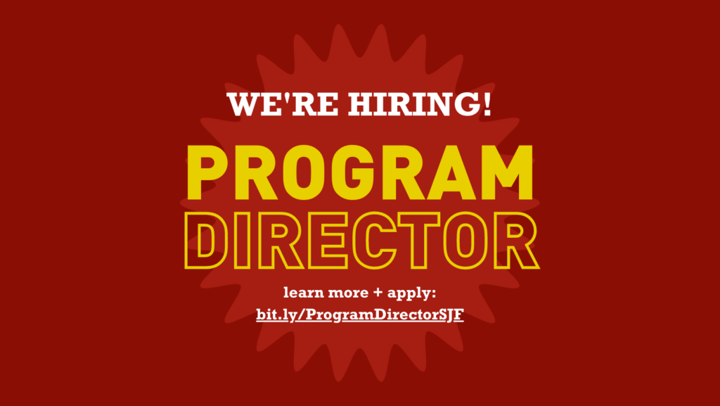 Rectangular image with crimson background. Yellow and white text on top of light red sunburst reads Were hiring. Program director. Learn more and apply.