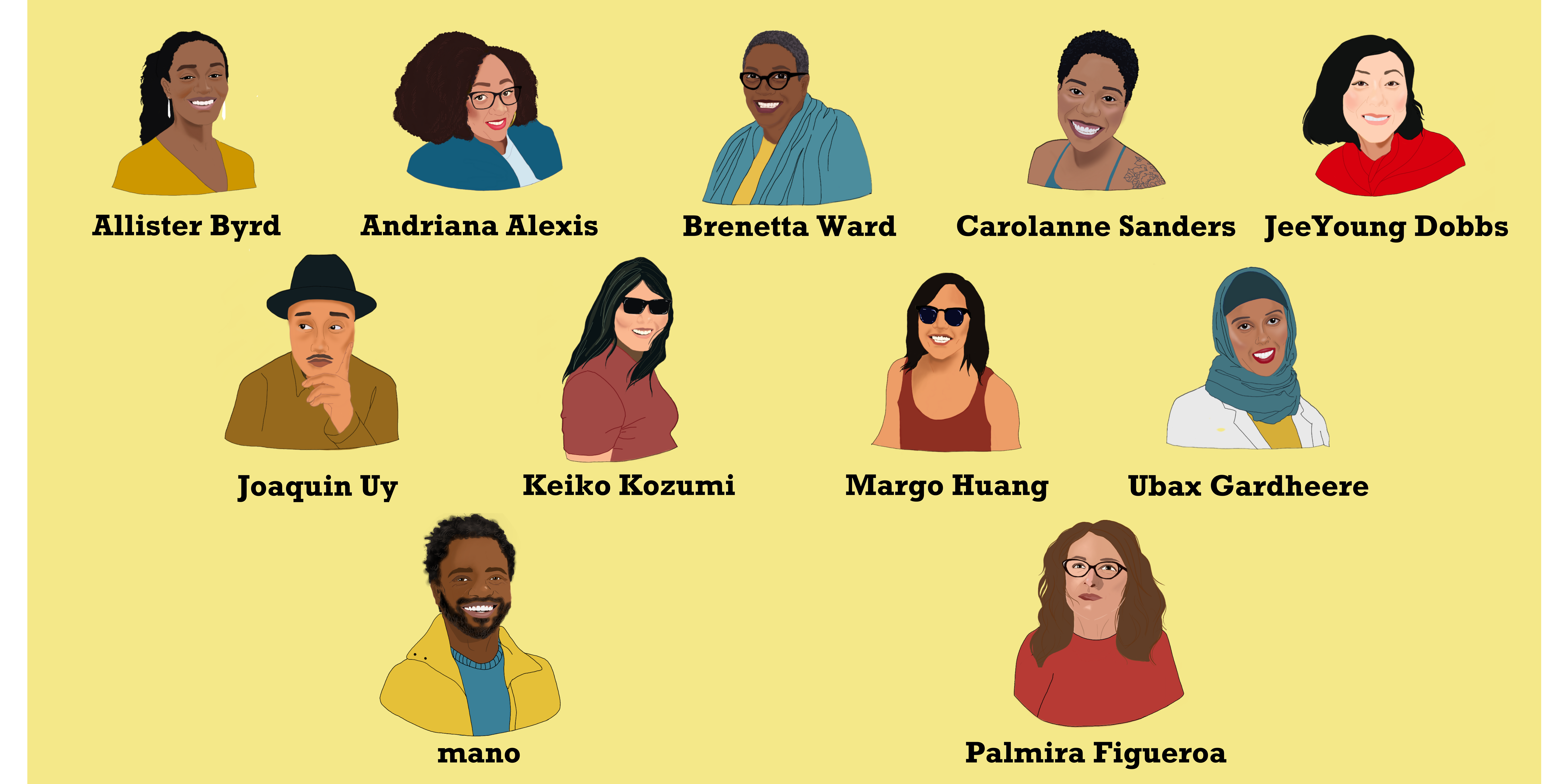 Rectangular image with yellow background displaying 11 illustrations of Fund 4 the Frontlines committee members and two SJF staff members. Black text includes their names.