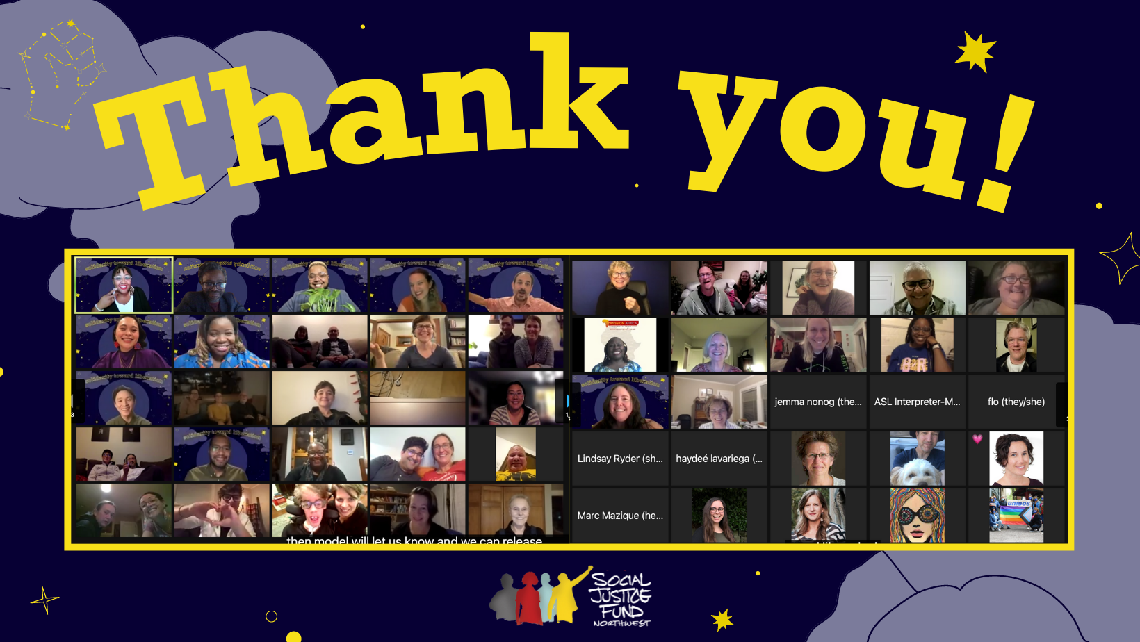 Rectangular banner with dark blue background depicting a night sky with stars and clouds. In the center are screenshots of a zoom event with many smiling people. Yellow text reads THANK YOU